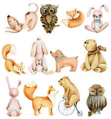 Collection of watercolor cute animals (rabbits, foxes, owls, bears and dogs), hand drawn isolated on a white background