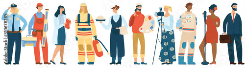 People occupation vector professional man and woman in uniform of firefighter, police officer and astronaut Tablou Canvas