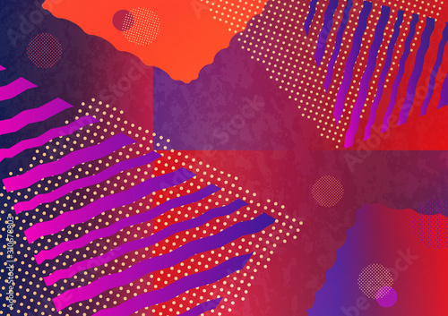 Abstract geometric composition with decorative shapes, triangles, lines and dots Wallpaper Mural