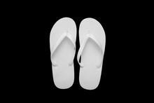 Blank White Flip Flops On A Bl...
