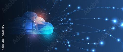 Fototapeta Cloud technology. Integrated digital web concept background obraz