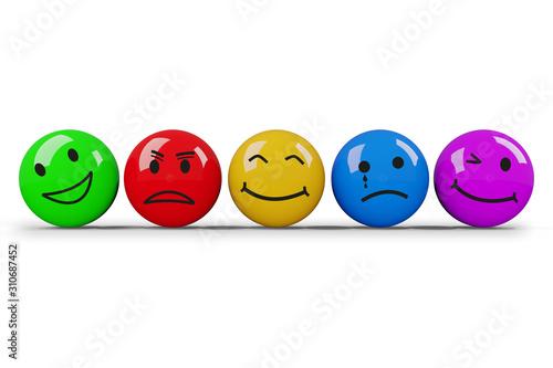Obraz Different smileys in different colors, 3D illustration - fototapety do salonu