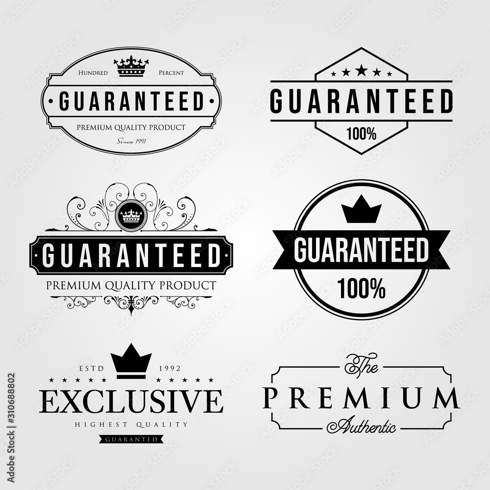 Fototapeta set of vintage premium retro guaranteed label logo illustration vector design