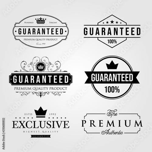 Fototapeta set of vintage premium retro guaranteed label logo illustration vector design obraz