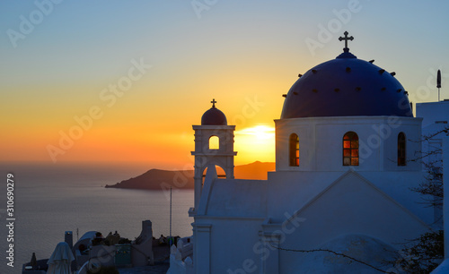 Fototapeta Orthodox church on Santorini Island obraz