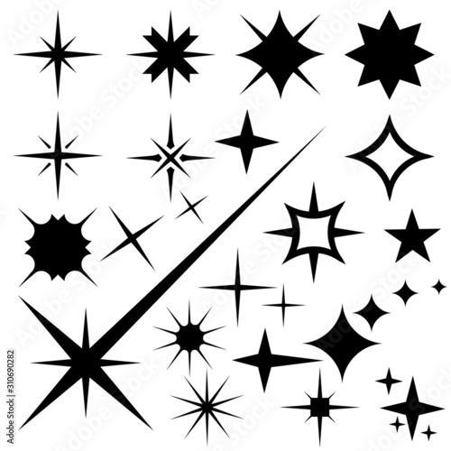 Fototapeta tar icons. Twinkling stars. Sparkles, shining burst. Christmas stars vector isolated. obraz na płótnie