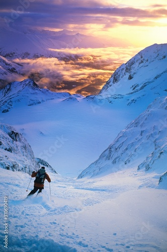 Skier Moving Down Slope Canvas Print