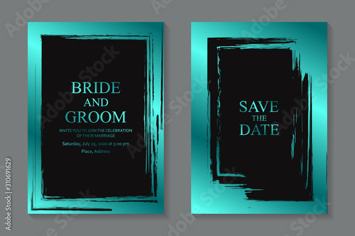 Set of modern luxury wedding invitation design or card templates for business or presentation or greeting with turquoise metallic grunge frame on a black background.