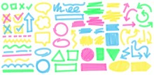Color Highlight Marker Strokes. Colorful Markers Cross And Tick Mark, Doodle Highlights Arrows And Marker Stroke Frames Vector Set. Multicolor Symbols, Arrows, Speech Clouds And Geometric Shapes