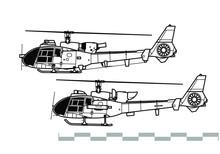 Aerospatiale Gazelle, SA 340, 341, 342. Outline Vector Drawing