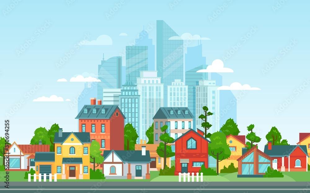 Krajobraz podmiejski. Architektura miejska, małe i duże budynki miejskie. Suburbans mieści kreskówka wektorowej. Wieś, przedmieścia z prywatnymi domkami z widokiem na miasto w tle <span>plik: #310694255 | autor: Tartila</span>