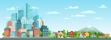 Suburban And Urban Cityscape. ...