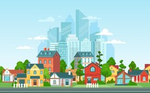 Suburban Landscape. Urban Architecture, Small And Big City Buildings. Suburbans Houses Cartoon Vector Illustration. Countryside, Suburbs With Private Cottages With Cityscape On Background
