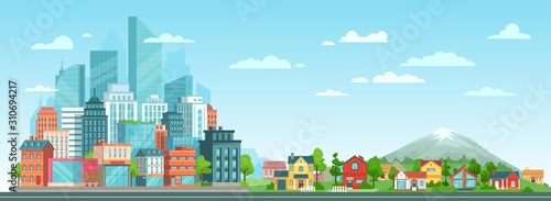 Slika na platnu Suburban and urban cityscape
