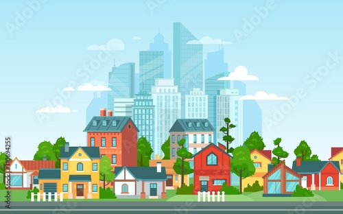 Fototapeta Suburban landscape. Urban architecture, small and big city buildings. Suburbans houses cartoon vector illustration. Countryside, suburbs with private cottages with cityscape on background obraz