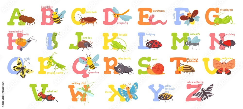Cartoon insects alphabet. Funny bug letters, comic insect abc for kids and cute bugs vector illustration set. Educational english alphabet with colorful cartoon characters. Elementary school education <span>plik: #310694404 | autor: Tartila</span>