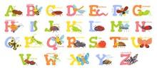 Cartoon Insects Alphabet. Funn...