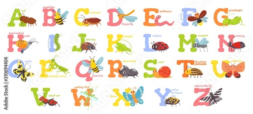 Photo Cartoon insects alphabet