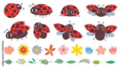 Cartoon ladybug. Cute ladybugs with flowers and leaves, red bug and insects vector illustration set. Funny lady bugs, flower buds and foliage pack. Dotted flying beetle stickers collection © Tartila