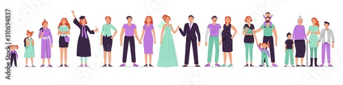 Different ages woman with family. Adult woman with couple, happy grandmothers with kids and life stages vector illustration set. Lady growing up, starting family and aging. Female person development