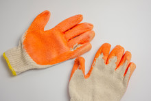 Working Gloves With Rubber Coating On Contact Surface For Tough Works