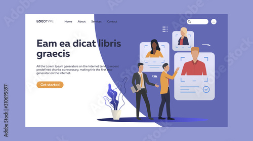 Fototapety, obrazy: Management assessing personnel. Headhunter, job interiew, candidates flat vector illustration. HR, hiring recruitment concept for banner, website design or landing web page