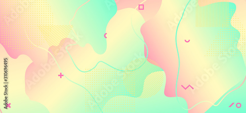 Fototapety, obrazy: Pastel Colorful Poster. Yellow Memphis Pattern.