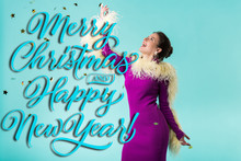 Happy Party Girl In Purple Dress With Feathers Dancing Under Falling Confetti Isolated On Turquoise With Merry Christmas And Happy New Year Illustration