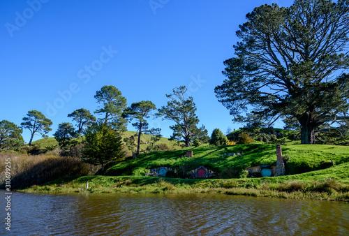 View of Hobbiton Movie Set in Matamata, New Zealand Wallpaper Mural