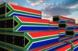 canvas print picture - 3D illustration Container with flag of South-Africa