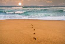 Foot Mark On Sandy Beach Leadi...
