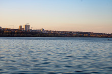 Lake With Clear Blue Water In The City Of Voronezh In The Fall At Sunset