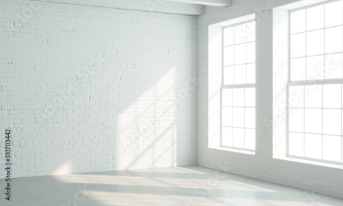 Fototapeta Loft style interior with white windows obraz
