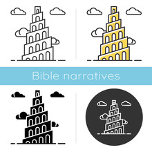 Babel Tower Bible Story Icon. ...