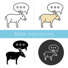 Balaam Donkey Bible Story Icon. Speaking Animal And Speech Cloud. Religious Legends. Christian Religion. Biblical Narrative. Glyph, Chalk, Linear And Color Styles. Isolated Vector Illustrations