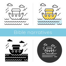 The Flood Bible Story Icon. Noah Ark. Sacred Ship In Worldwide Water. Religious Legend. Holy Book Scene Plot. Biblical Narrative. Glyph, Chalk, Linear And Color Styles. Isolated Vector Illustrations