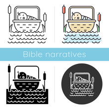 The Birth Of Moses Bible Story Icon. Newborn In Basket. Hebrew Prophet Religious Legend. Exodus Biblical Narrative. Glyph, Chalk, Linear And Color Styles. Isolated Vector Illustrations