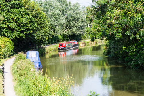 Bradford on Avon UK 13th July 2019 A view of the Kennet and Avon canal from a ra Fotobehang