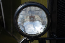 Round Headlight Of A Military ...