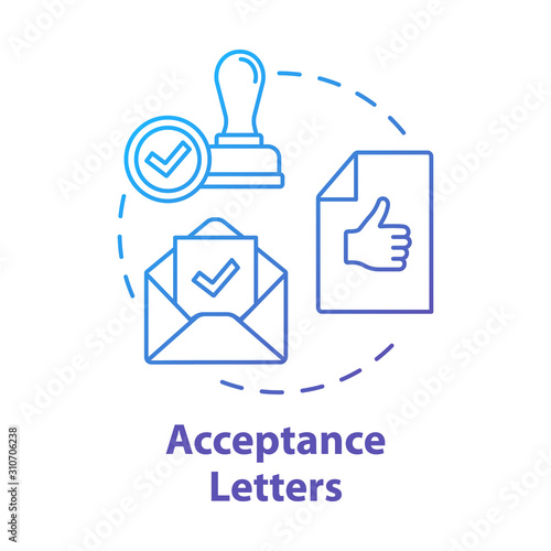 Acceptance letters concept icon Wallpaper Mural