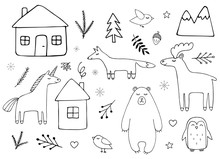 Vector Set Bundle Of Black Outline Hand Drawn Doodle Sketch Animals And Nature Elements Isolated On White Background