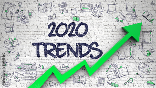 Fototapeta Brick Wall with 2020 Trends Inscription and Green Arrow. Business Concept. 2020 Trends - Development Concept. Inscription on White Brickwall with Doodle Icons Around. obraz