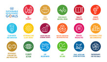 Corporate Social Responsibility Sign. Sustainable Development Goals  Illustration. SDG Signs. Pictogram For Ad, Web, Mobile App, Promo.