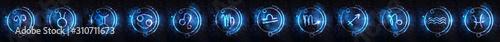 Obraz Set of Astrology signs against starry sky - fototapety do salonu