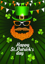 Happy St. Patrick's Day Template For Greeting Card, Flyers Or Posters. Green Heat, Red Beard And Eye Glasses Design Objects.