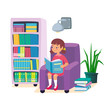 Little girl reading a book and sitting in armchair with bookshelf and wall lamp. Kids learning education concept. Children's intellectual hobby. Smart clever child. Vector illustration, cartoon flat
