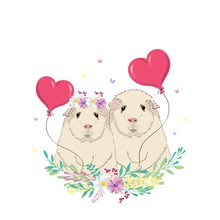 Vector Illustration Of A Two Cute Guinea Pigs With A Balloon, Greeting On Valentine's Day