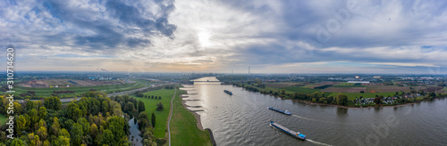 Panoramic view on riverboats on the Rhine Fotobehang