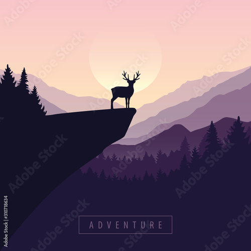 wildlife adventure elk in the wilderness at sunset on a cliff vector illustration EPS10 Wall mural