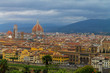 Aerial view of Florence Italy, beautiful old city full of historical amazing buildings, cathedrals and bridges.